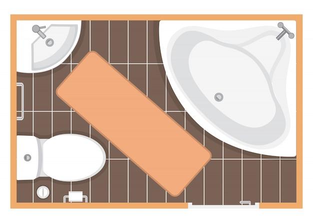 План этажа туалета иллюстрации Premium векторы