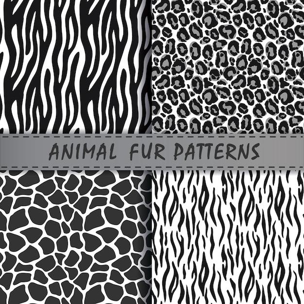 動物の肌の質感とシームレスなパターンベクトルを設定します。 Premiumベクター