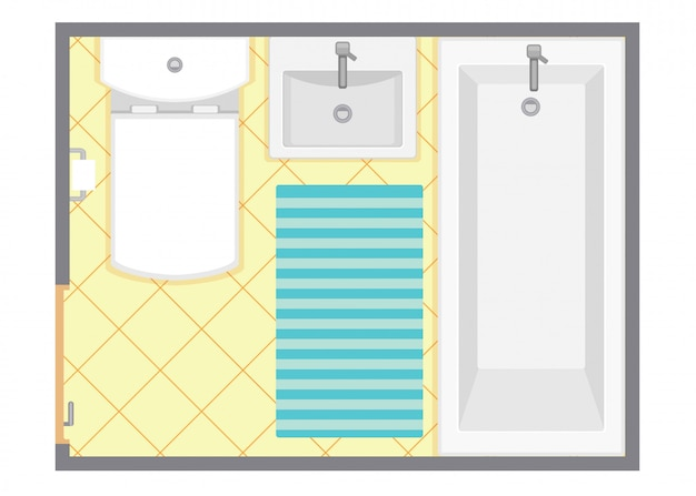 Ванная комната интерьер вид сверху векторные иллюстрации. план этажа комнаты отдыха. плоский дизайн. Premium векторы