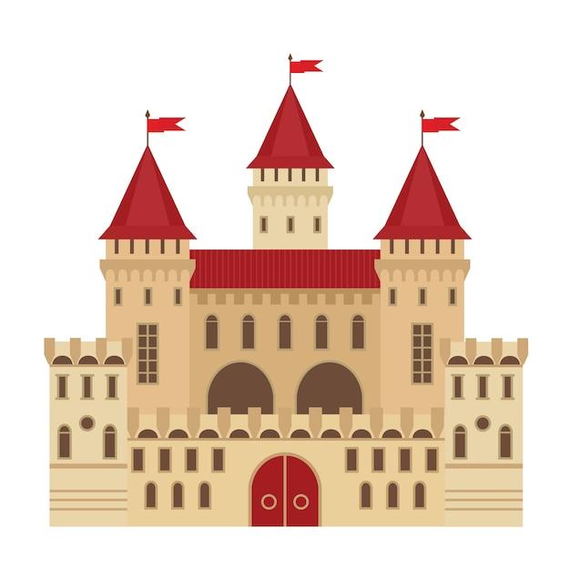 フラットスタイルの城のベクトルイラスト。中世の石造りの要塞。抽象的なファンタジー城 Premiumベクター
