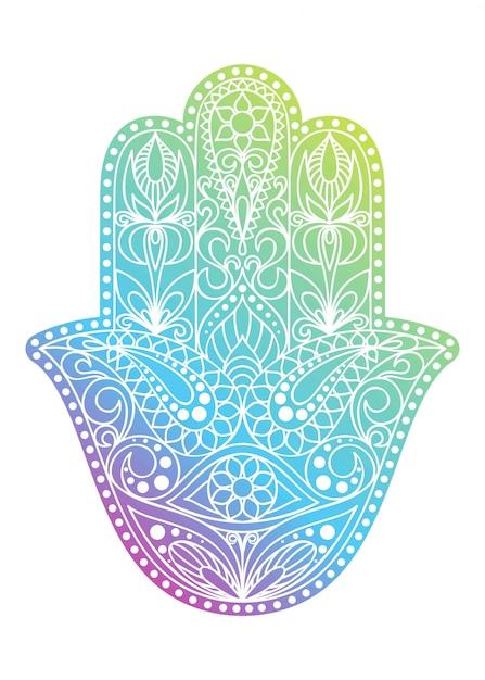 手描きのハムサのシンボル。ファチマの手。インド、アラビア、ユダヤ文化に共通の民族お守り。東部の花飾りとカラフルなハムサのシンボル。 Premiumベクター