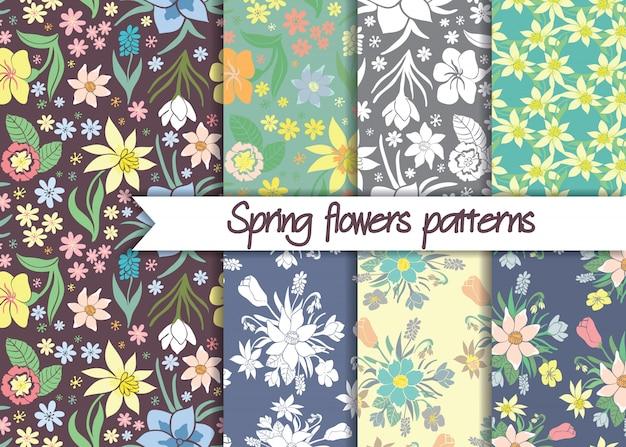 シームレスなカラフルな春の花柄のパターンのセットです。 Premiumベクター