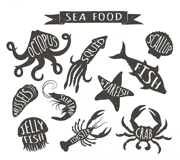 Ручной обращается морские животные, элементы меню ресторана Premium векторы