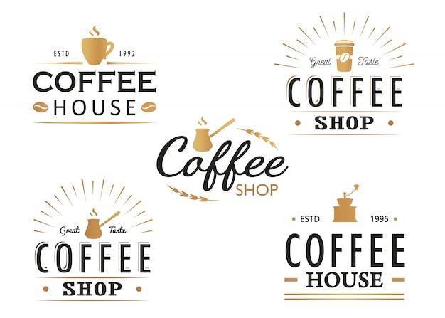 Набор старинных кофе логотип шаблоны, значки и элементы дизайна. коллекция логотипов для кафе, кафе, ресторана. Premium векторы