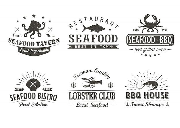 Набор старинных морепродуктов, барбекю, гриль логотип шаблоны, значки и элементы дизайна. Premium векторы