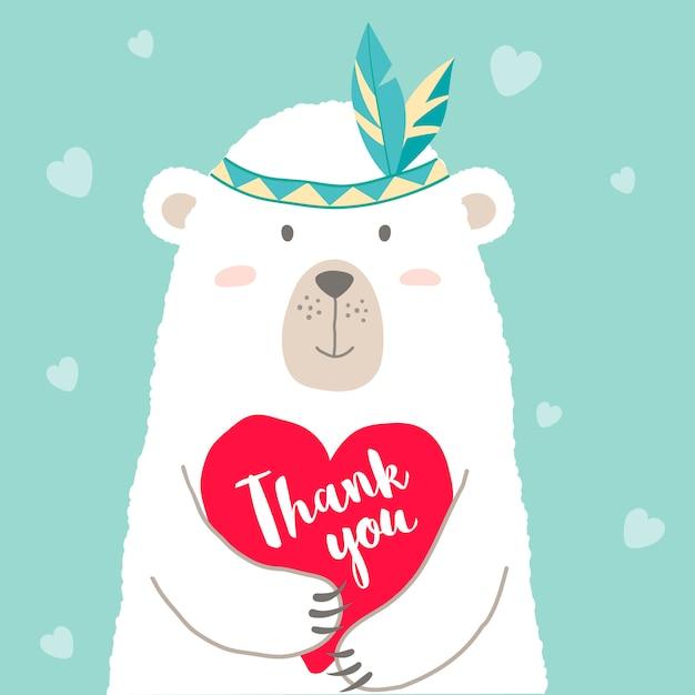 心と手書きのレタリングありがとうございますを保持しているかわいい漫画のクマ Premiumベクター