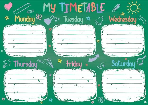 手書きのチョークボード上の学校時刻表テンプレート色チョークテキストを書きます。 Premiumベクター