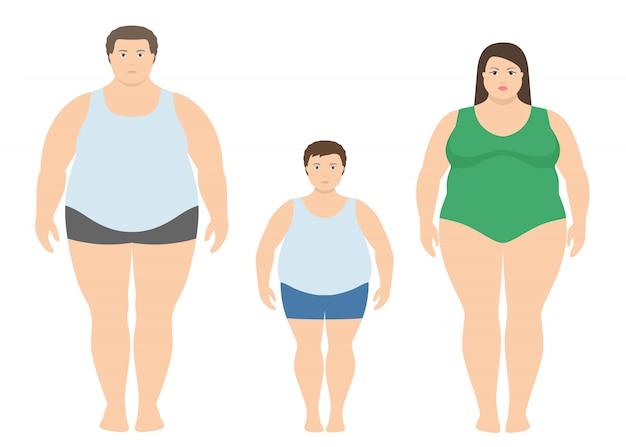 Толстый мужчина, женщина и ребенок в плоском стиле. Premium векторы