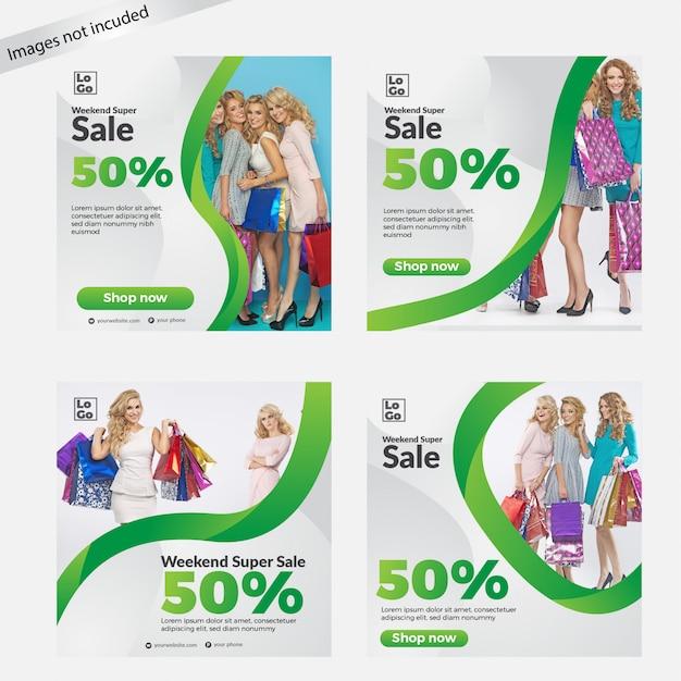 ソーシャルメディアの販売バナーテンプレートコレクション Premiumベクター