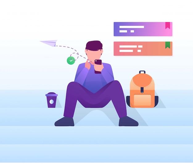 Человек сидит на лестнице играть в мобильную квартиру иллюстрации Premium векторы