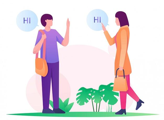 Женщина и мужчина говорят привет иллюстрация плоская Premium векторы