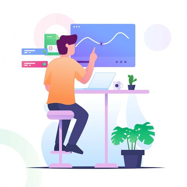Человек проверить статистику плоской иллюстрации Premium векторы