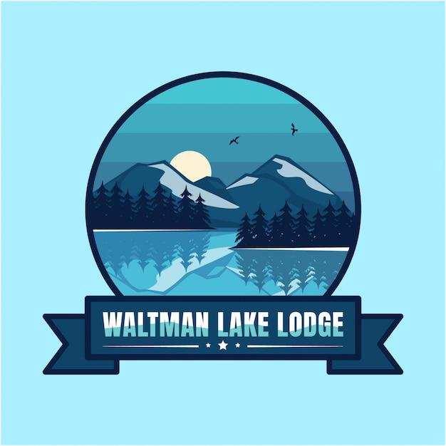 Озеро логотип винтажная гора Premium векторы