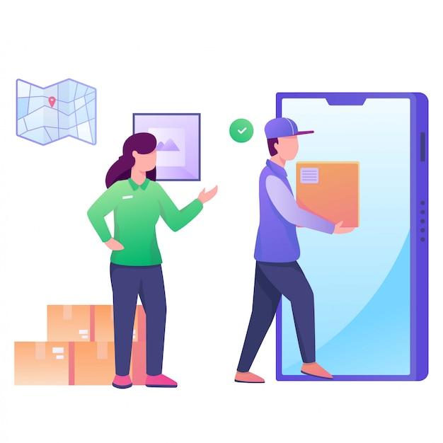 Отправить пакет с мобильной иллюстрацией Premium векторы