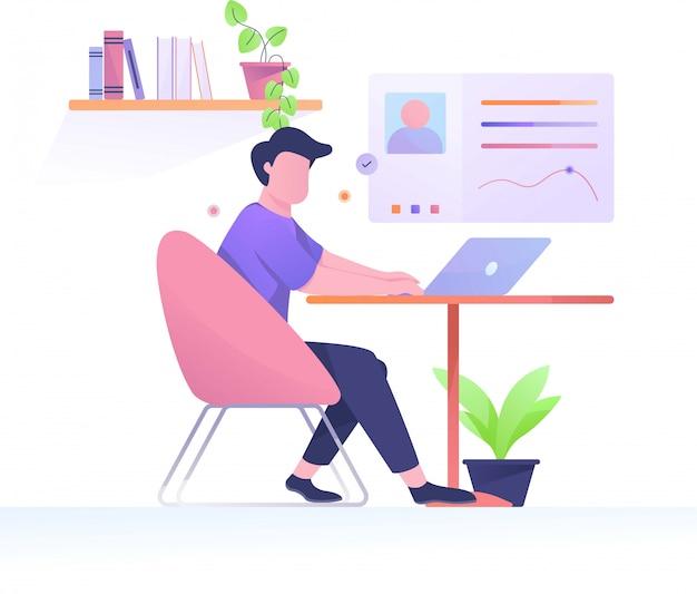 Рабочее время человек плоской иллюстрации на рабочем месте Premium векторы