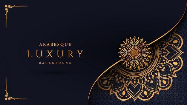 Роскошный фон мандалы с золотым узором арабески арабский исламский восточный стиль Premium векторы
