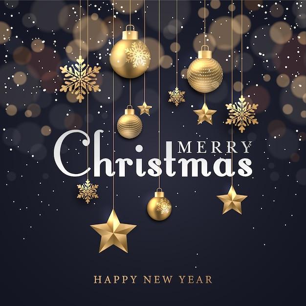 輝くドットと金色の星の泡と雪のクリスマスの背景 Premiumベクター