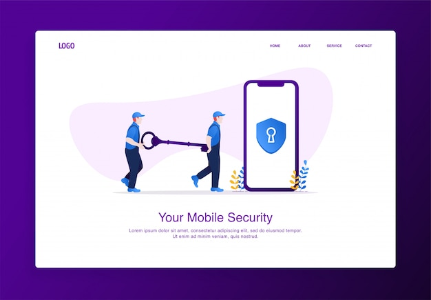 二人の男のイラストは、モバイルセキュリティのロックを解除するための鍵を運びます。モダンなフラットデザインセキュリティコンセプト、ランディングページテンプレート。 Premiumベクター