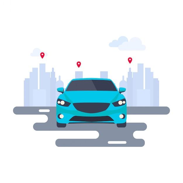 Современная векторная иллюстрация карты автомобиля и булавки Premium векторы