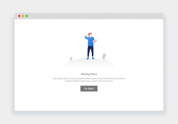 Современный плоский дизайн концепции смущенного человека, смотрящего на карту, страница не существует для веб-сайта и мобильного веб-сайта. шаблон страницы пустых состояний Premium векторы