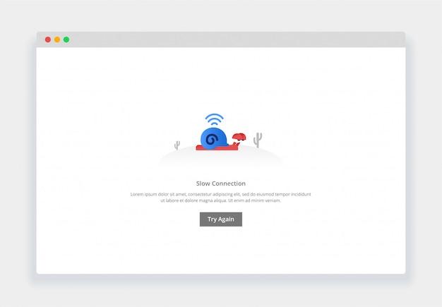 カタツムリのモダンなフラットデザインコンセプトはゆっくりと歩く、ウェブサイトおよびモバイルウェブサイトの接続が遅い。空の状態ページテンプレート Premiumベクター