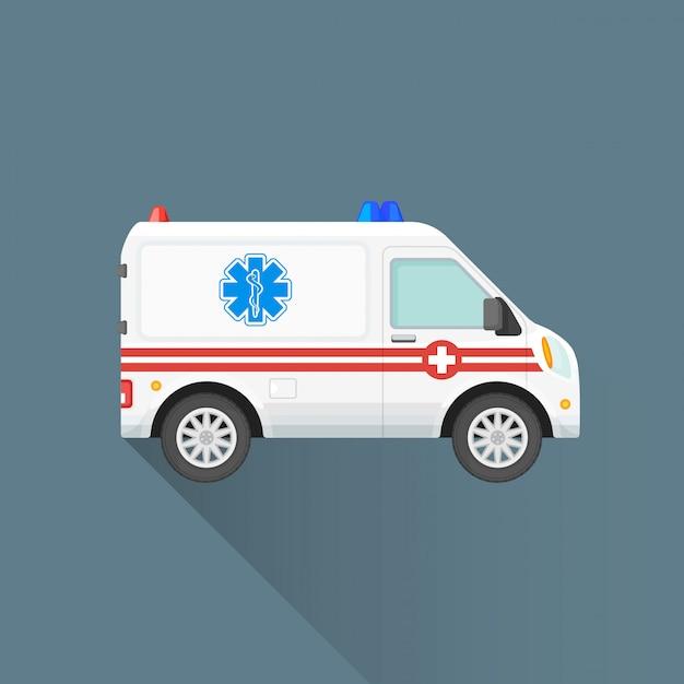 フラット救急車のアイコン Premiumベクター