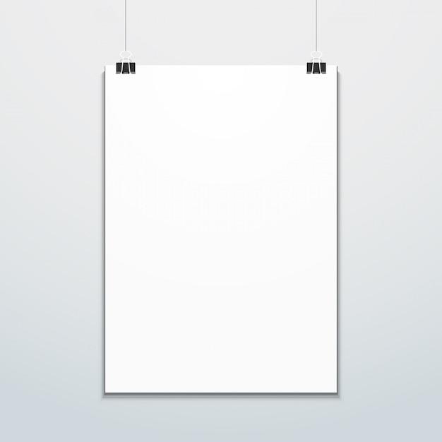 Вертикальный плакат подвешен на макете офисных клипов Premium векторы