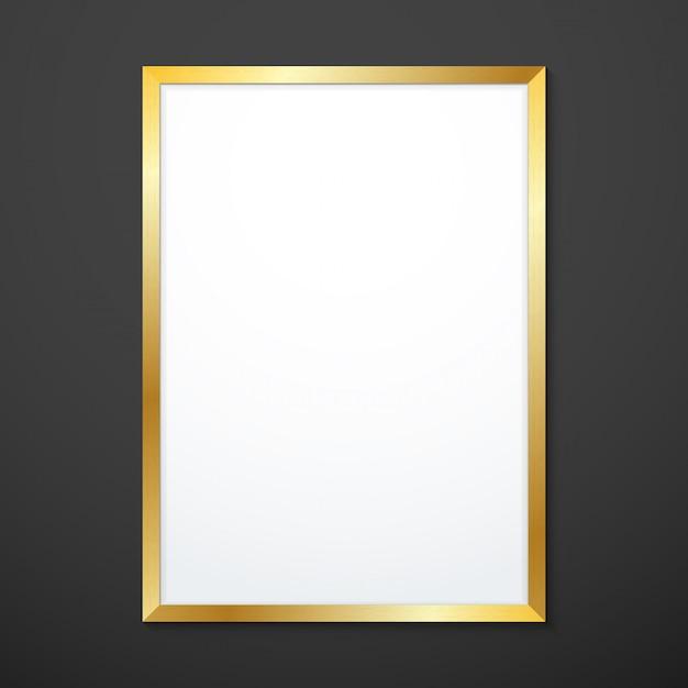 Вертикальная золотая текстура рама макет Premium векторы