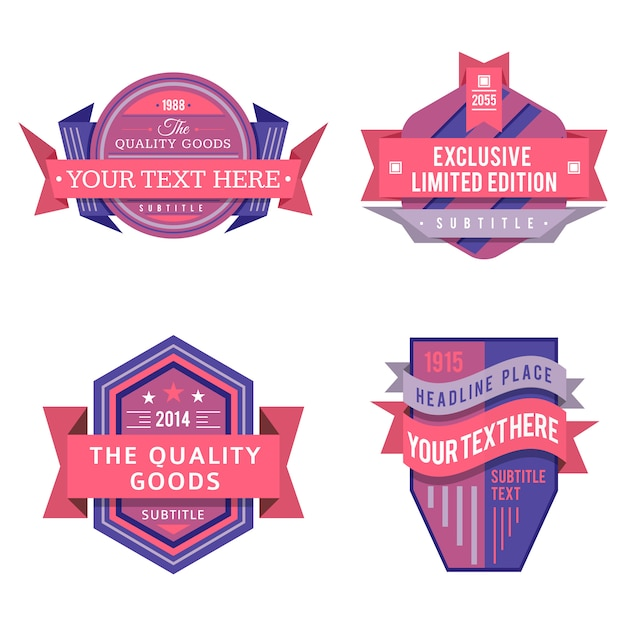Набор различных векторных дизайн ретро розовый фиолетовый цвет логотипа этикетки и винтажные баннеры значок стиля Premium векторы