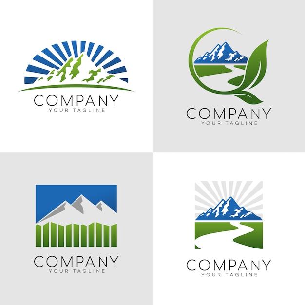 山の屋外ロゴ Premiumベクター