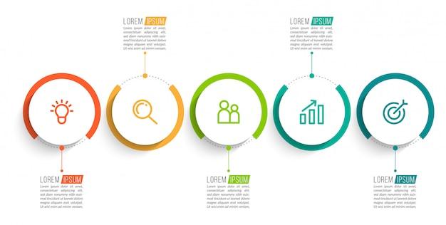 Инфографика с пятью шагами Premium векторы