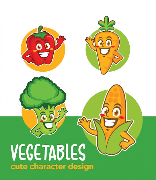 Овощи мультипликационный персонаж Premium векторы