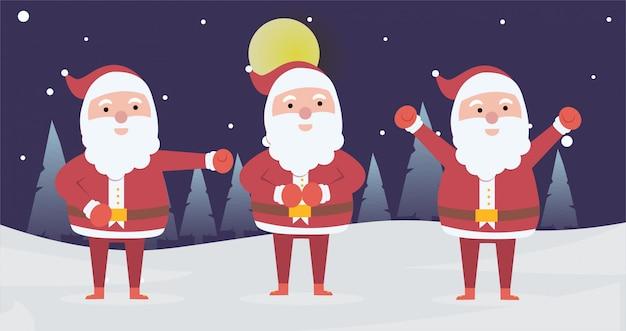 クリスマスの日のためのポーズ活動をしているクリスマスサンタクロースのコレクション Premiumベクター