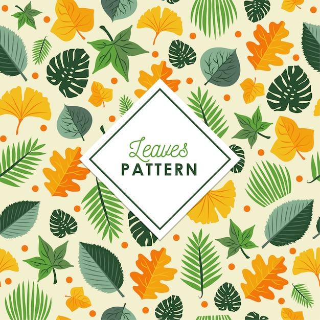 秋の葉のパターンの背景 無料ベクター