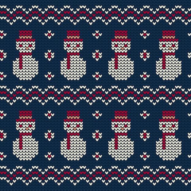 Снеговик вязаный узор на рождество Бесплатные векторы
