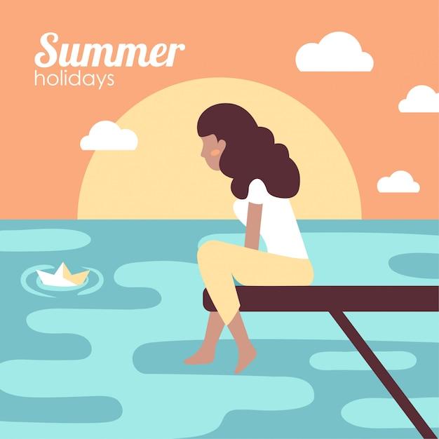 海で夏休みの女の子 無料ベクター