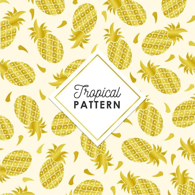 黄金色の熱帯のパイナップルパターン 無料ベクター
