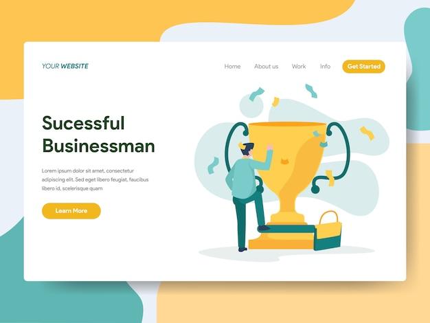 ウェブサイトのページのための成功した実業家 Premiumベクター