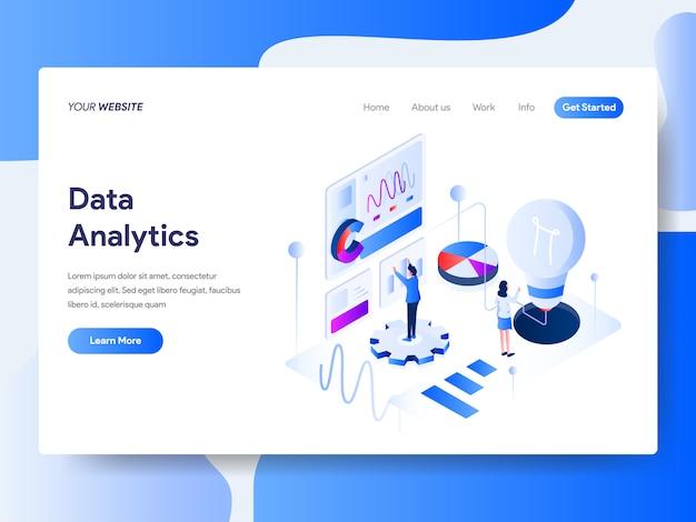 ウェブサイトページの等尺性データ分析 Premiumベクター