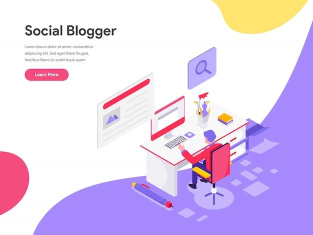 ブログ作家イラストコンセプト Premiumベクター