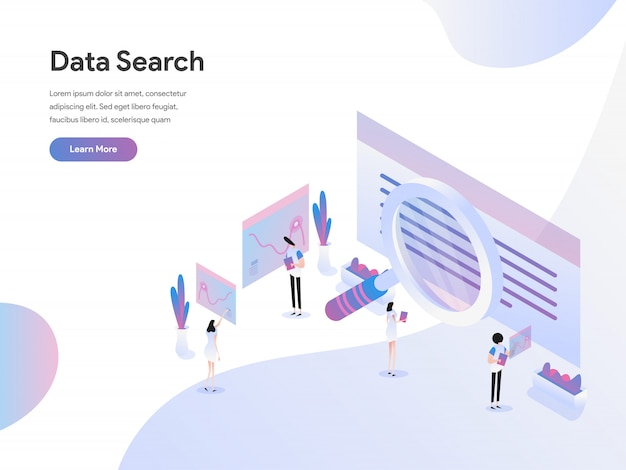 データ検索等角投影図の概念 Premiumベクター