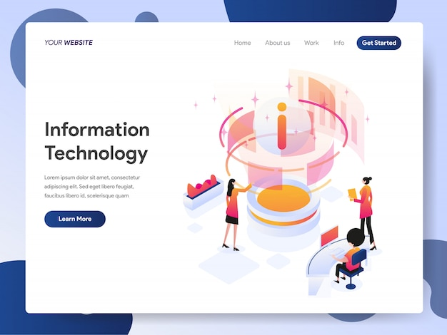 ランディングページの情報技術デザイナーバナー Premiumベクター