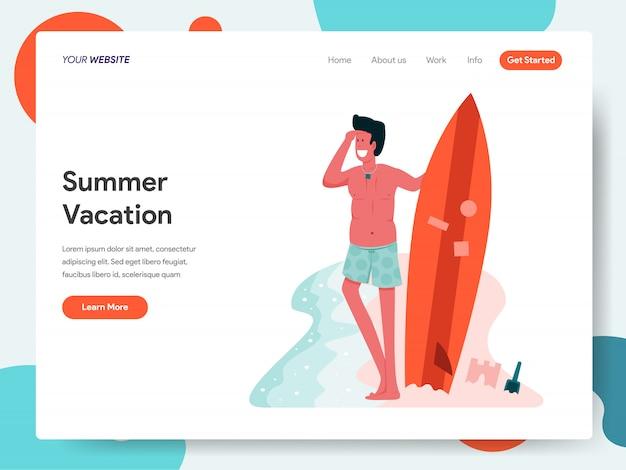 Мужчина позирует с доской для серфинга для целевой страницы Premium векторы