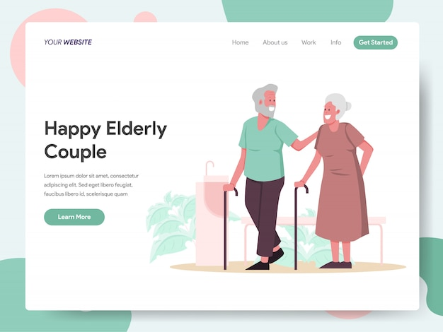 ランディングページの幸せな老夫婦バナー Premiumベクター