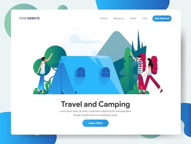 リンク先ページの旅行とキャンプのバナー Premiumベクター