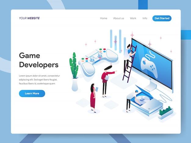 Разработчики игр изометрические иллюстрация для страницы сайта Premium векторы