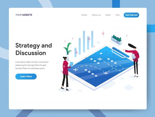 ウェブサイトのページの戦略とディスカッションのアイソメ図 Premiumベクター
