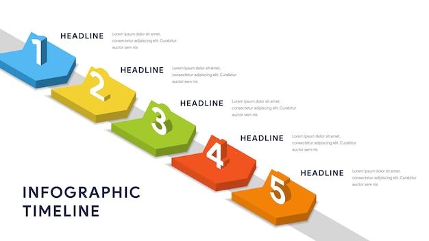 ステップ、タイムライン、ワークフローのインフォグラフィック要素 Premiumベクター