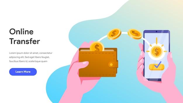 Онлайн перевод денег с мобильного телефона Premium векторы