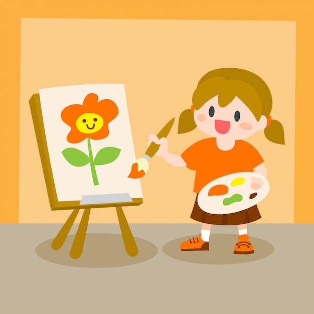 子供たち、キャンバスでの少女の絵画、ドローイングクラス Premiumベクター